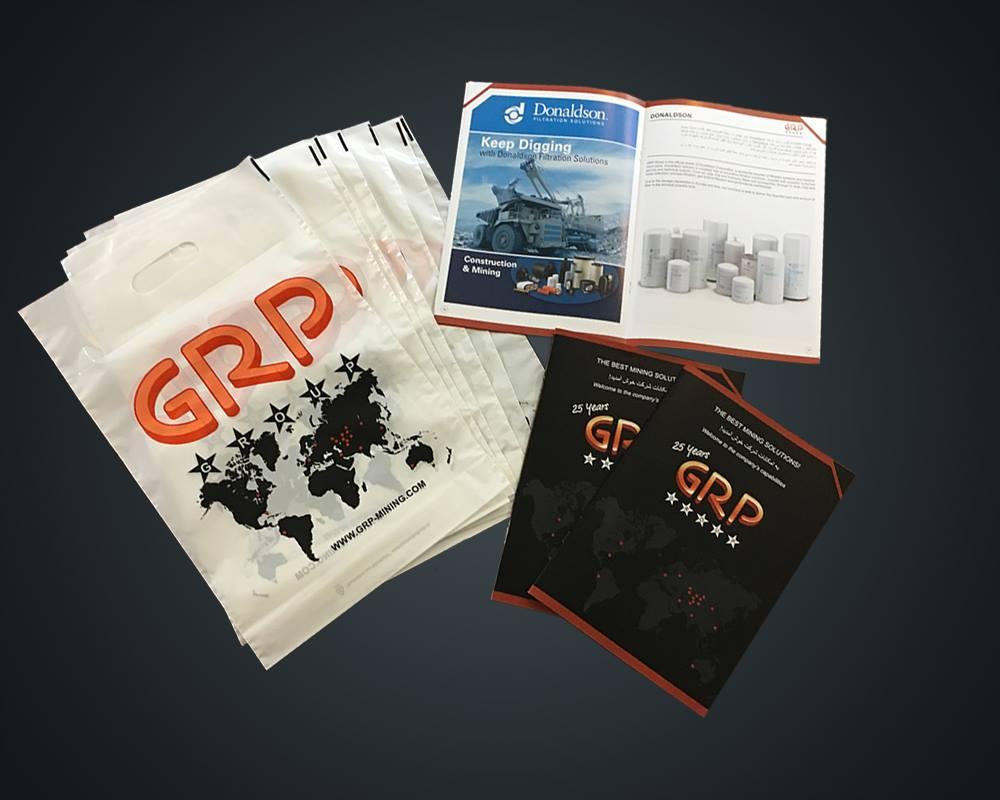 GRP Broschüre und Einkaufstüten