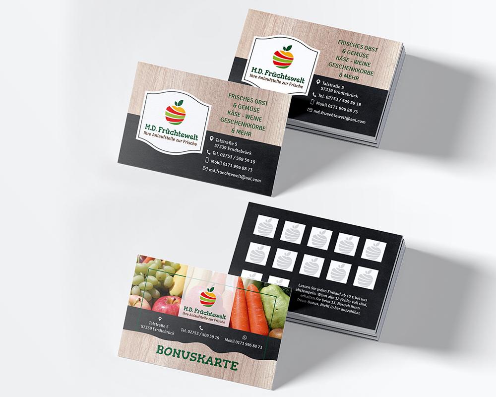 M.D. Früchtewelt Visitenkarten und Bonuskarten