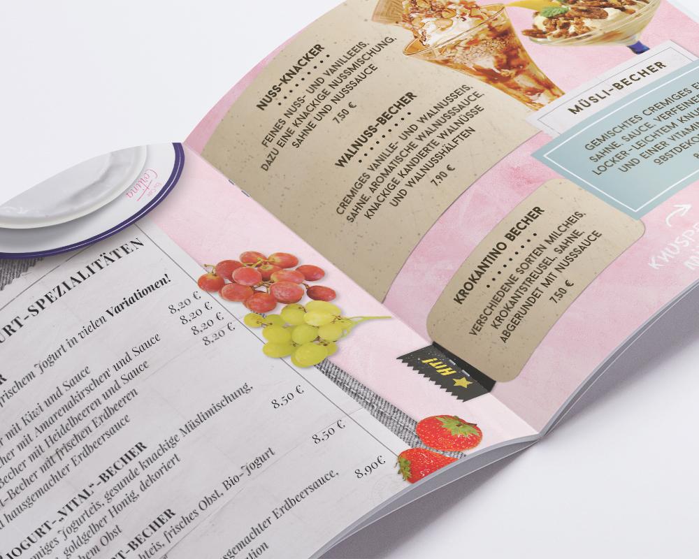 Eis-Cafe Cortina Speisekarte