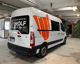 Schreinerei Wolf Fahrzeugbeschriftung