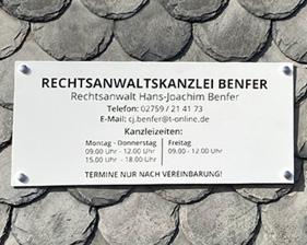 Rechtsanwaltskanzlei Benfer AluDibondschild